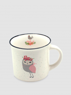 Mug Owl Gris y Rosa