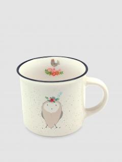 Mug Owl Gris y Blanco