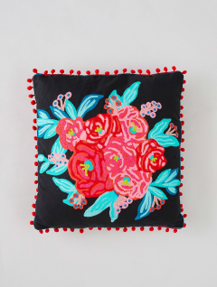 Funda Almohadón Flower Black Bouquet