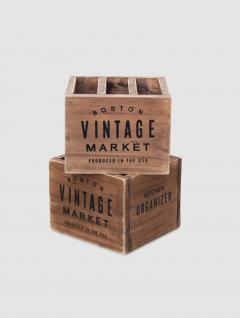 Cubiertero Vintage Madera Natural