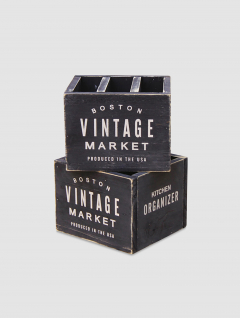 Cubiertero Vintage Madera Negro