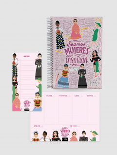 Set Cuaderno, Semanario Y Checklist Mujeres que Inspiran