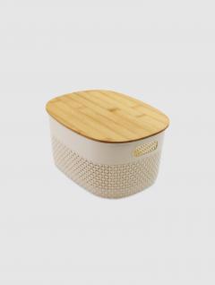 Canasto Natural Oval Tapa Bamboo 23,5x17,5x12cm
