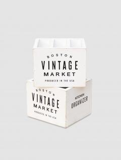 Cubiertero Vintage Madera Blanco
